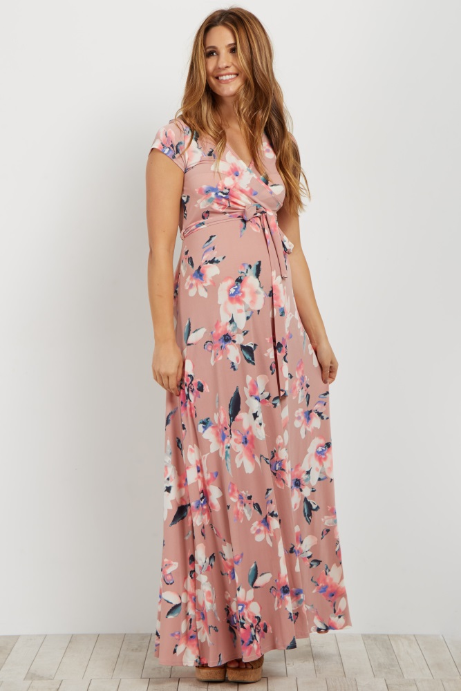 35e4b686554 Mauve Floral Short Sleeve Maternity/Nursing Wrap Dress