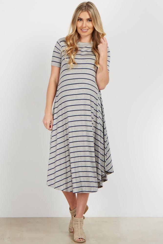 f52566b9fd Grey Striped Short Sleeve Swing Maternity Dress