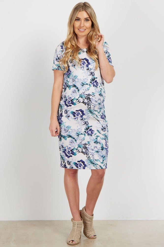 adc7a9b7a2f Ivory Floral Fitted Maternity Dress