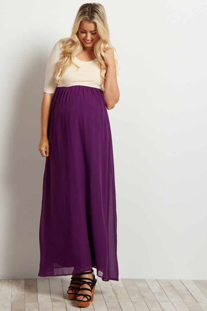 812905eab44 Tall Purple Chiffon Colorblock Maternity Maxi Dress