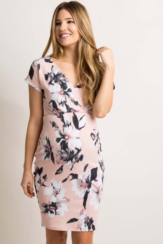 cdace2794e Light Pink Floral V Neck Fitted Maternity Dress