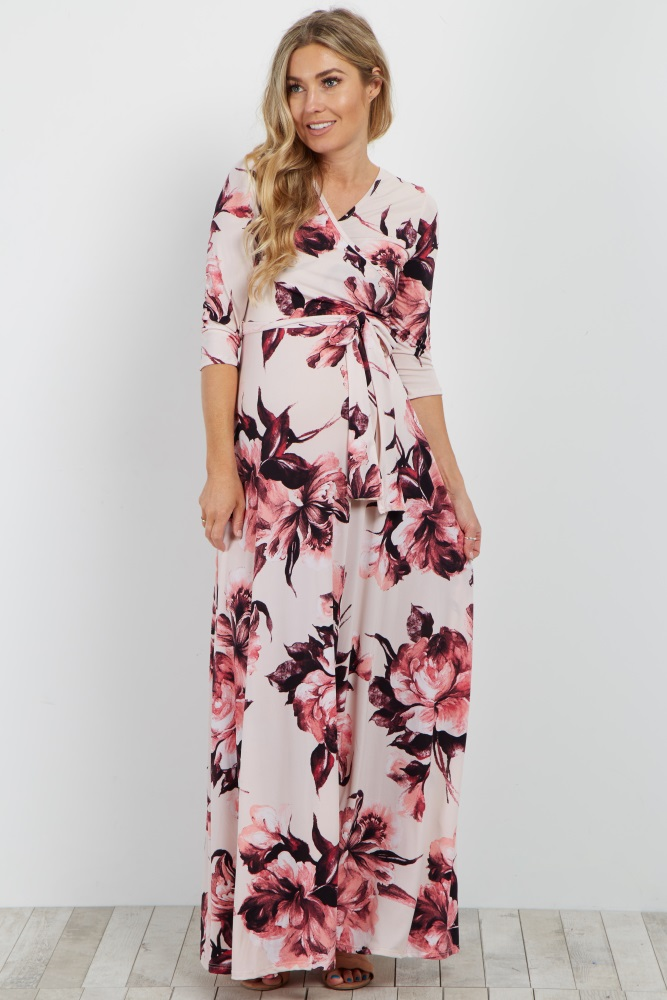 eca4ca07c0 Pink Floral Wrap Maternity Nursing Maxi Dress