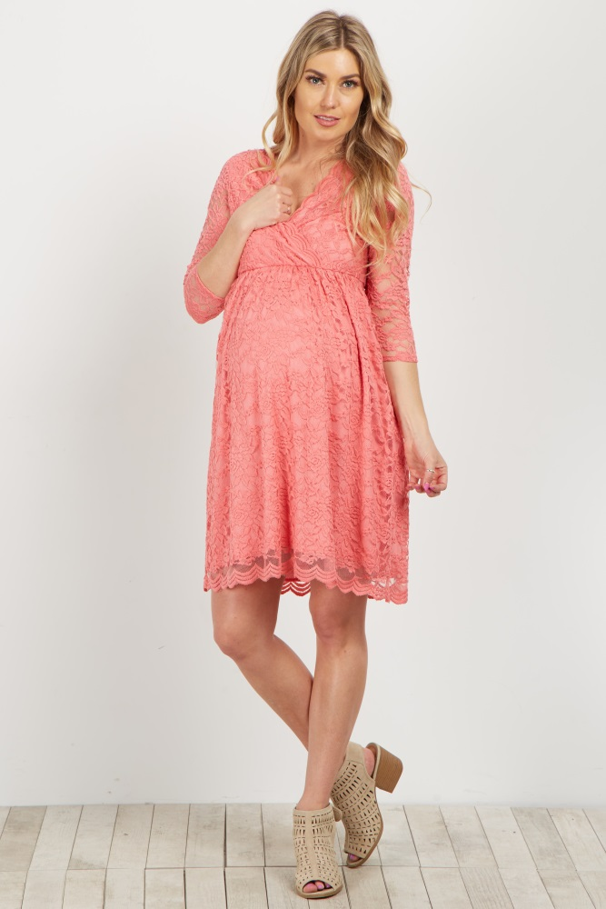 28746cfbbb Coral Lace Overlay Wrap Maternity Dress