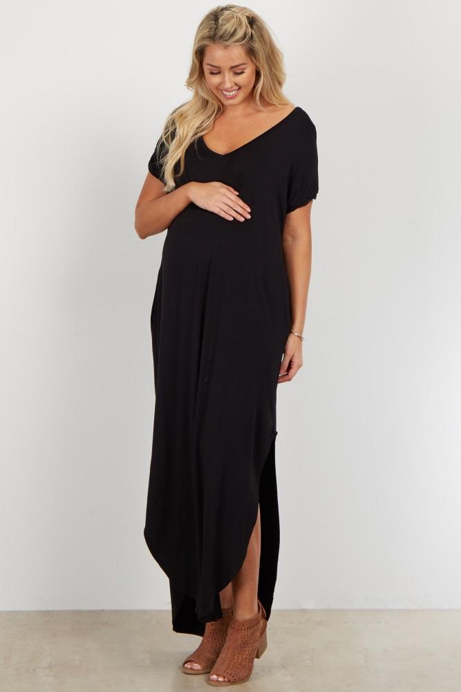 80fba42fb1f Black Basic V Neck Maternity Maxi Dress