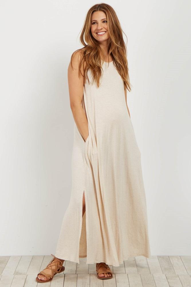29d9afae372711 Beige Sleeveless Pocket Maternity Maxi Dress