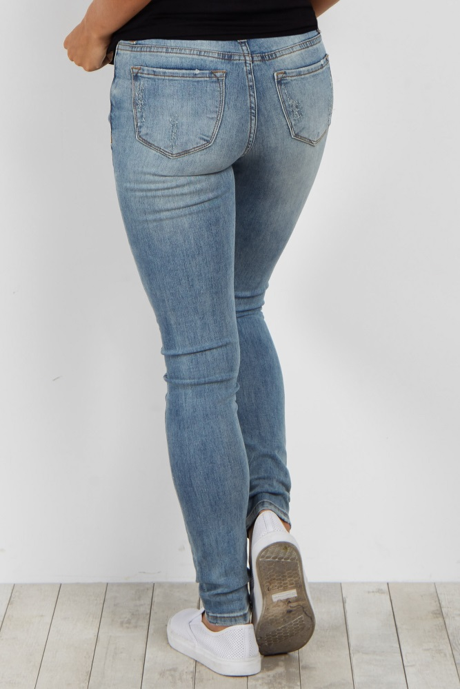 ab30e5653ec28 Light Blue Faded Distressed Maternity Skinny Jean