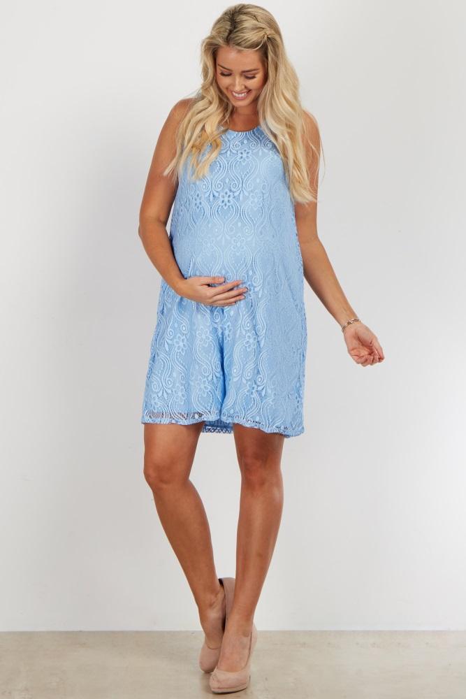 2b4ef1badf Light Blue Lace Maternity Dress