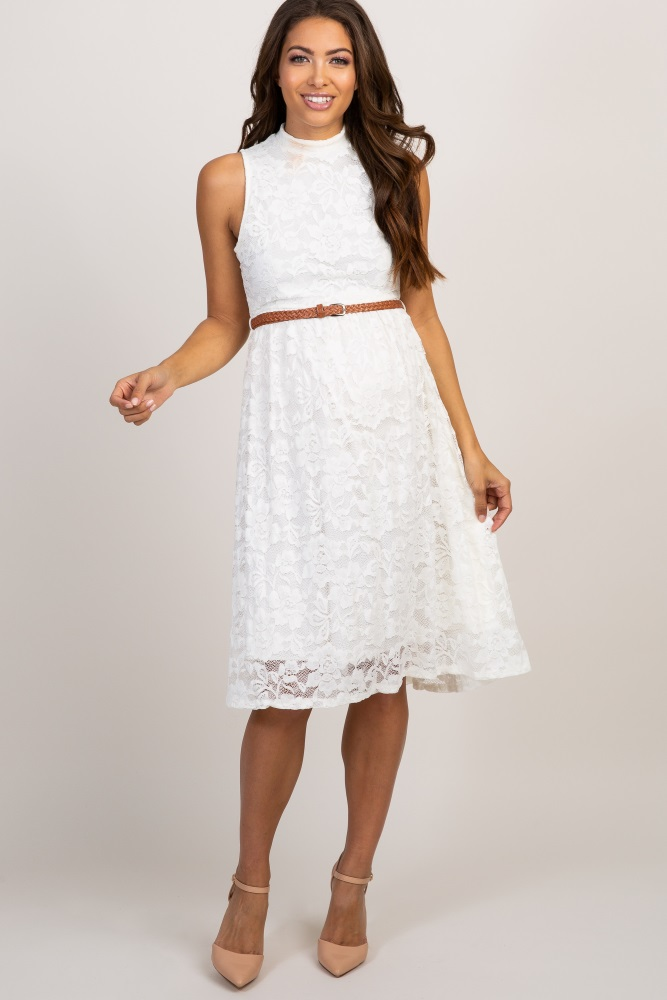 909193027ced4 Ivory Lace High Neck Belted Maternity Dress