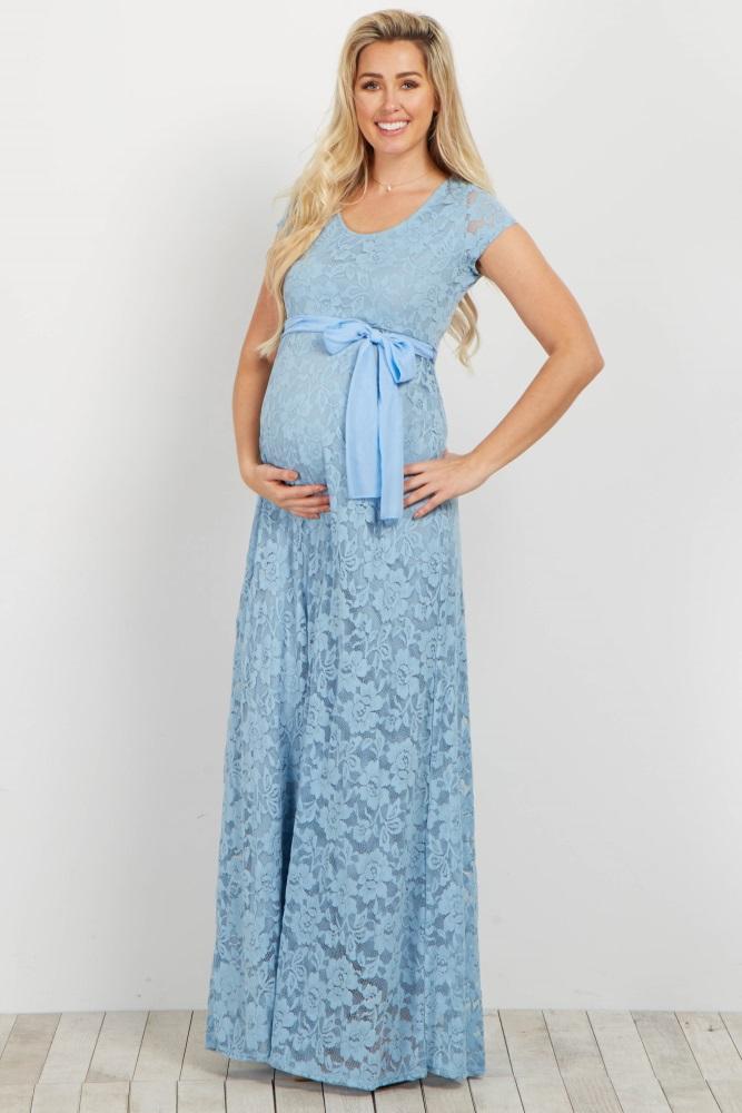28a6293430e3b Light Blue Lace Sash Tie Maternity Gown