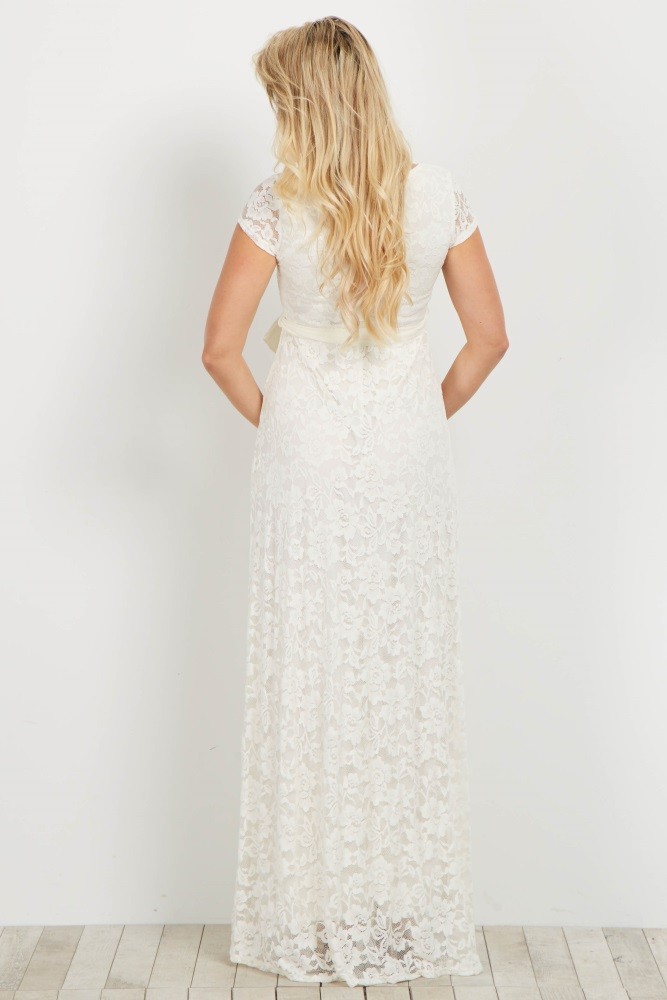 68e785f978e0e Ivory Lace Sash Tie Maternity Gown