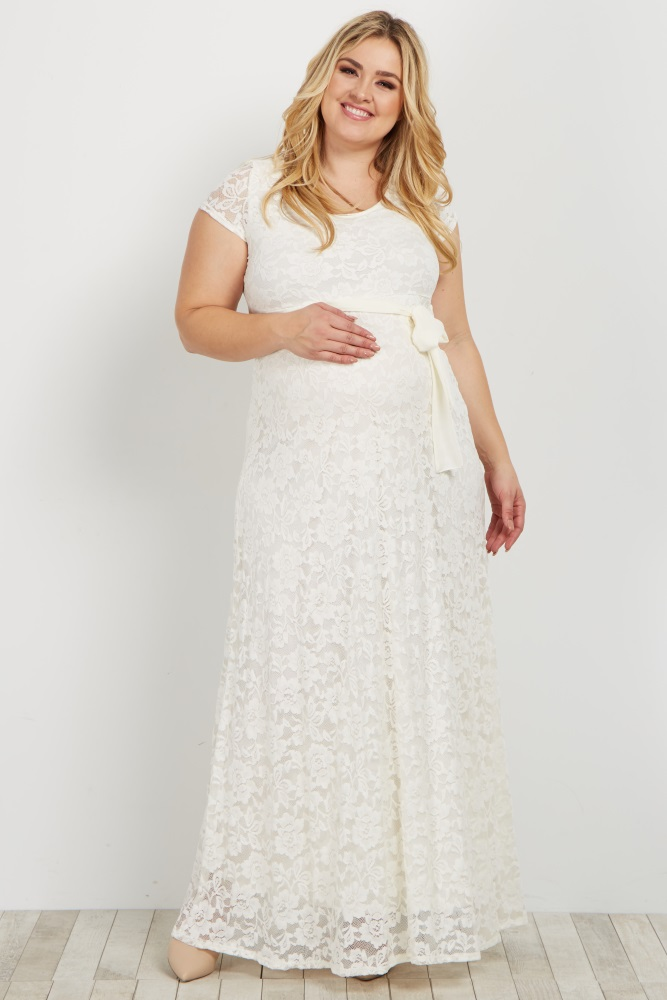 bdef7fad38889 Ivory Lace Sash Tie Plus Maternity Dress