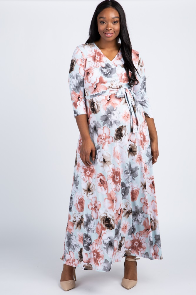 efd42a1e9a830 Light Blue Floral Sash Tie Plus Maternity/Nursing Maxi Dress