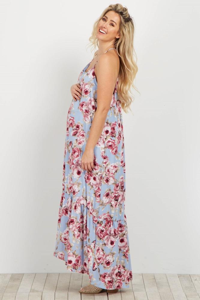 239b823d8f2 Light Blue Rose Ruffle Trim Maternity Maxi Dress