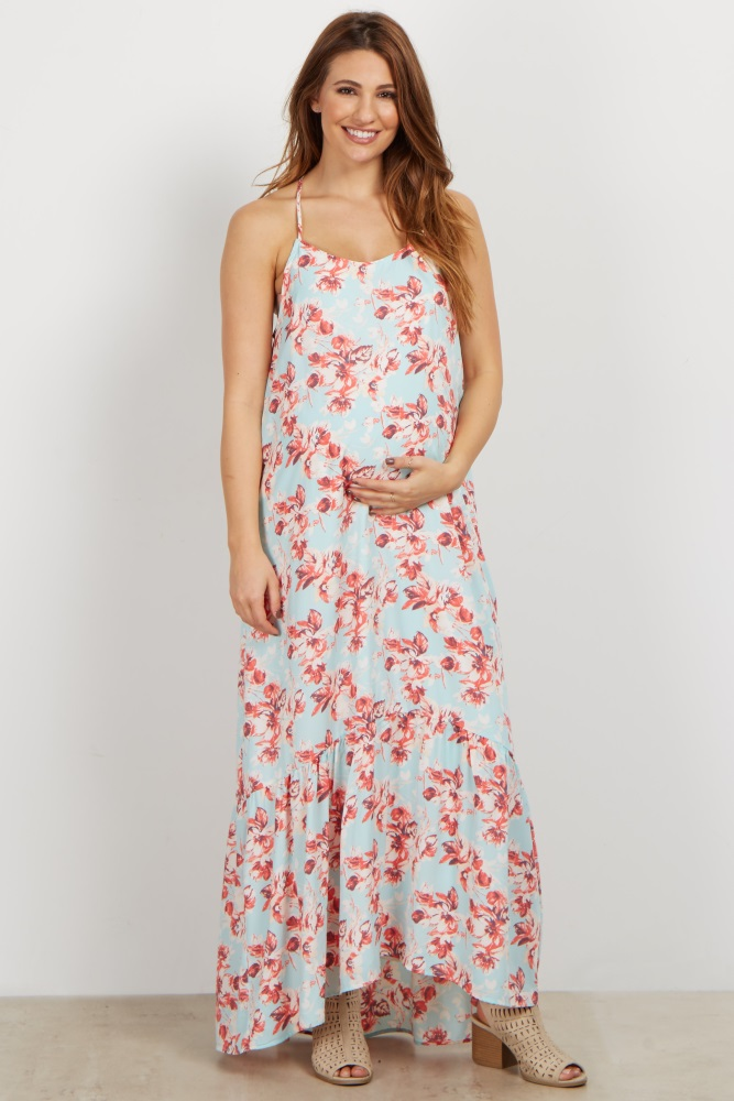 27e09154890 Light Blue Floral Ruffle Trim Maternity Maxi Dress