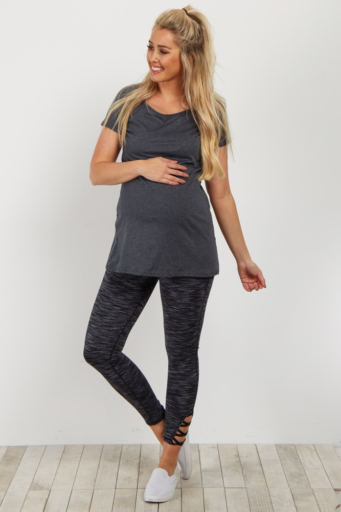b61b6bd09 Black Heathered Crisscross Cutout Maternity Workout Pant