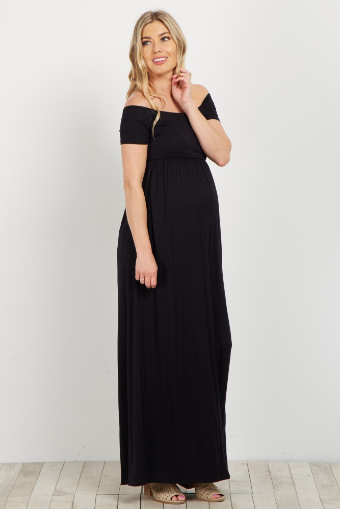 50f9710d4c1 Black Basic Off Shoulder Maternity Maxi Dress