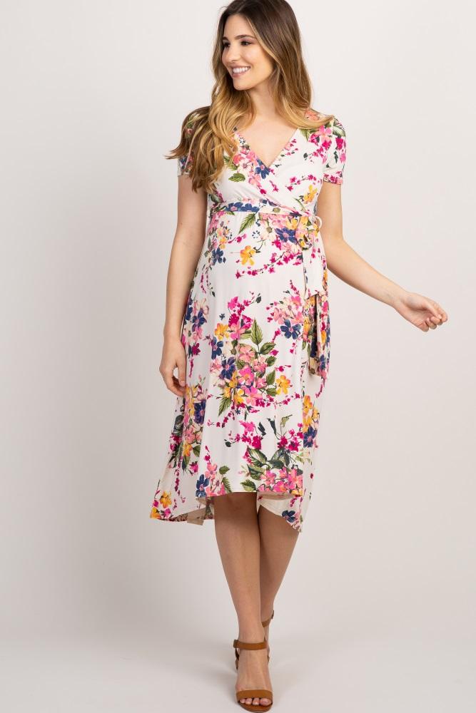 96cb7ad770818 Ivory Floral Hi Low Maternity Wrap Dress