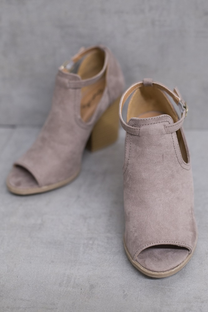 6addab35a9 Taupe Side Cutout Open Toe Bootie