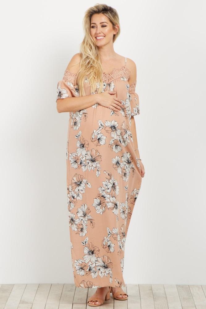 b759cafd1253a Pink Floral Crochet Cold Shoulder Maternity Maxi Dress