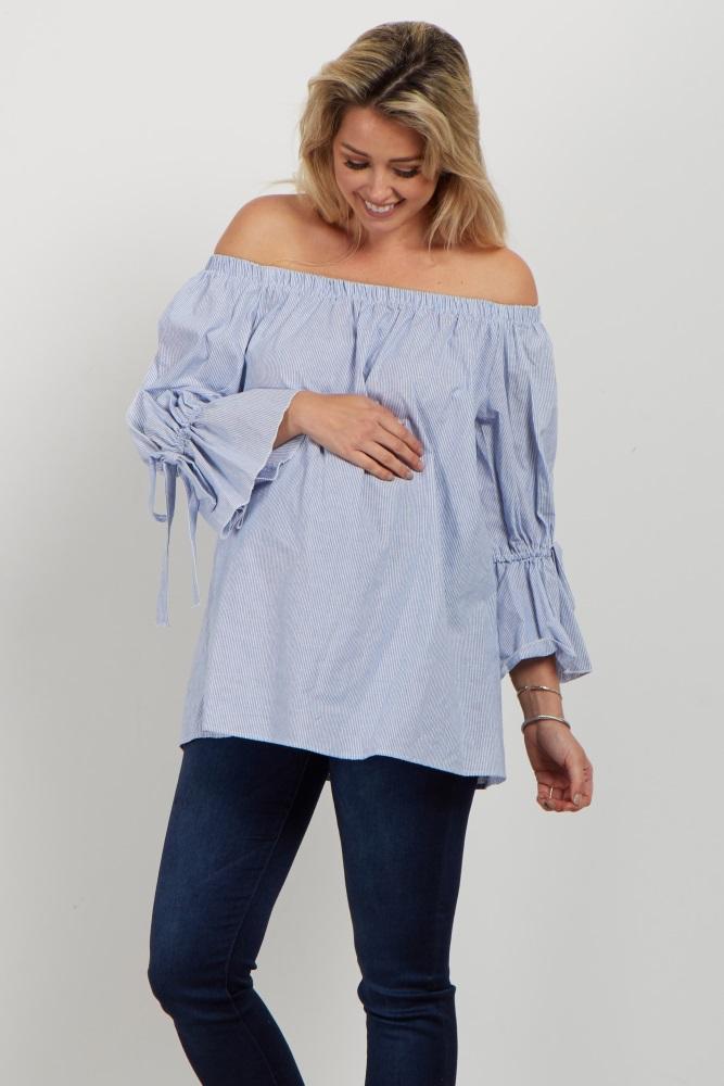 754582ef39c Blue Striped Off Shoulder Tie Sleeve Maternity Top