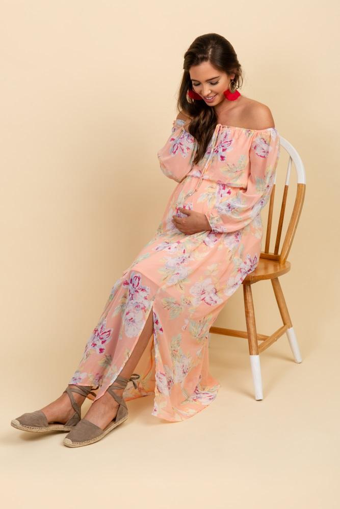 48240e07a8 Peach Floral Off Shoulder Maternity Maxi Dress