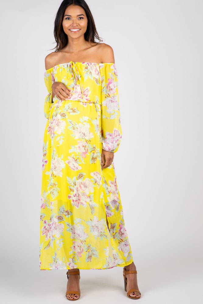 20dc7e412211a Yellow Floral Off Shoulder Maternity Maxi Dress