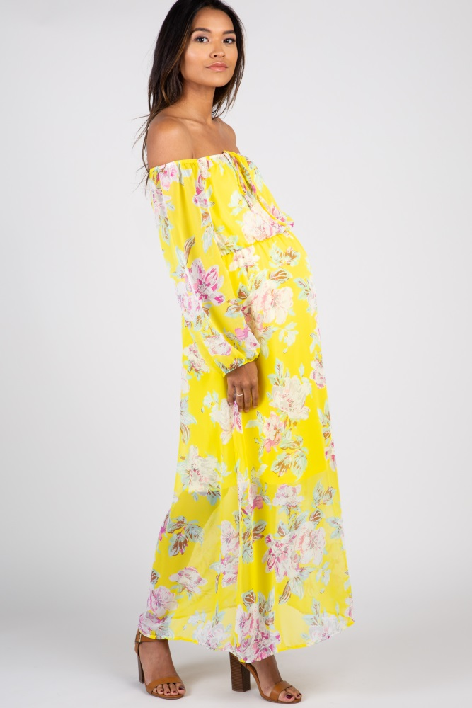 106f7daac4f Yellow Floral Off Shoulder Maternity Maxi Dress