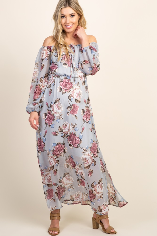 2fac75c01041 Grey Floral Off Shoulder Maternity Maxi Dress