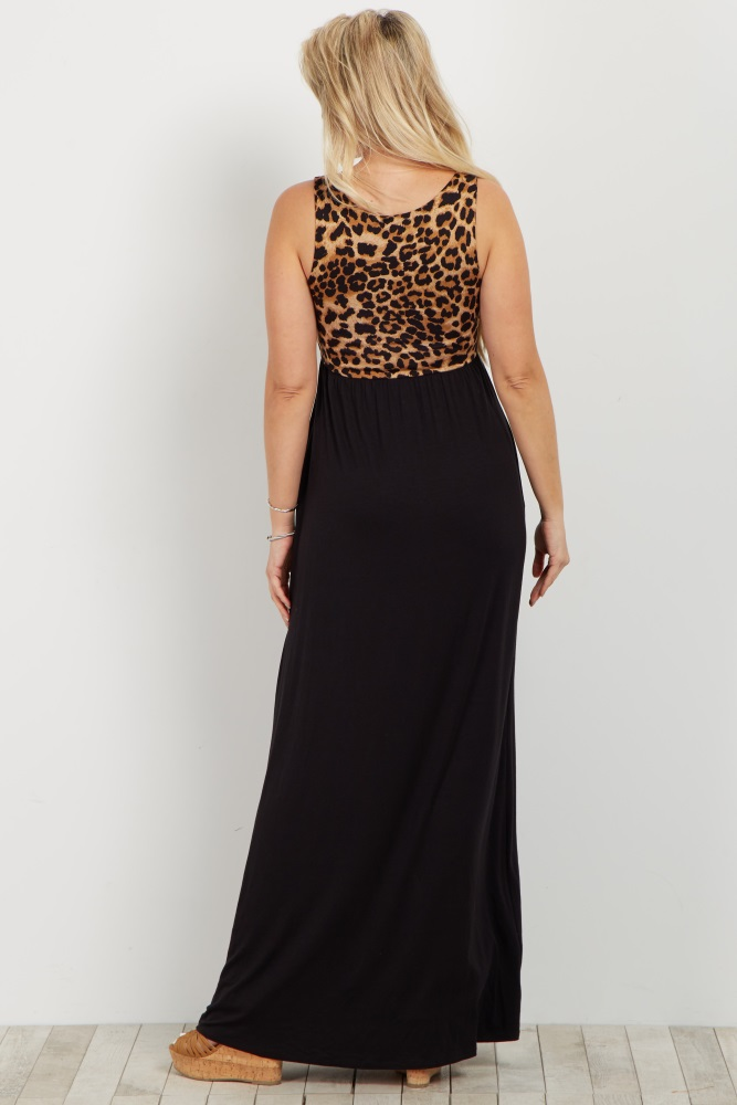 27f2fe3354 Black Cheetah Print Colorblock Maternity Maxi Dress