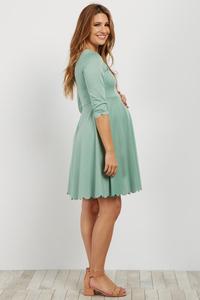 5735c6b74ea1a Green Scalloped Hem Maternity Dress