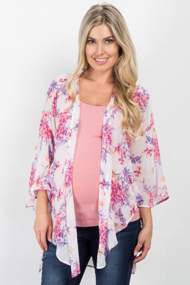 d783e8333a Ivory Floral Chiffon Maternity Kimono