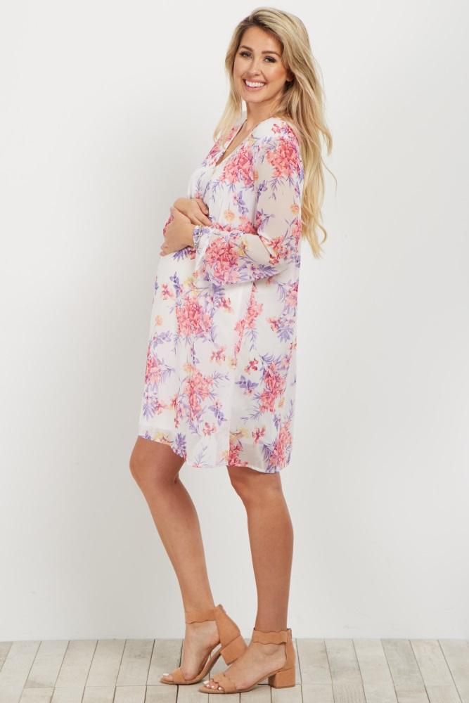 9587d17ee4b2f Ivory Floral V Neck Chiffon Maternity Dress