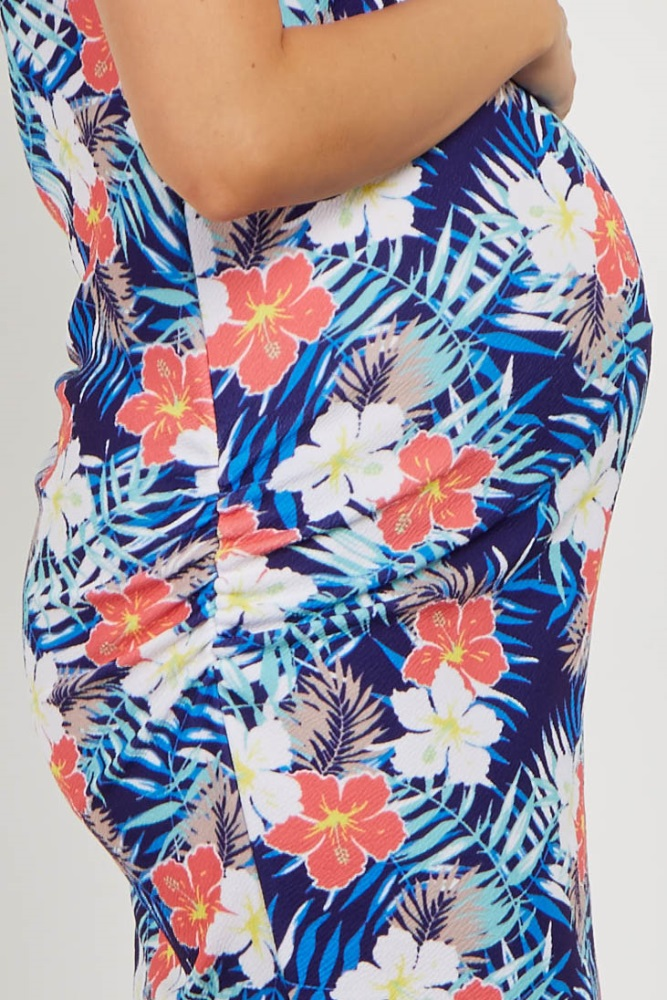 cce8ad01bf8 Navy Tropical Floral Fitted Maternity Dress