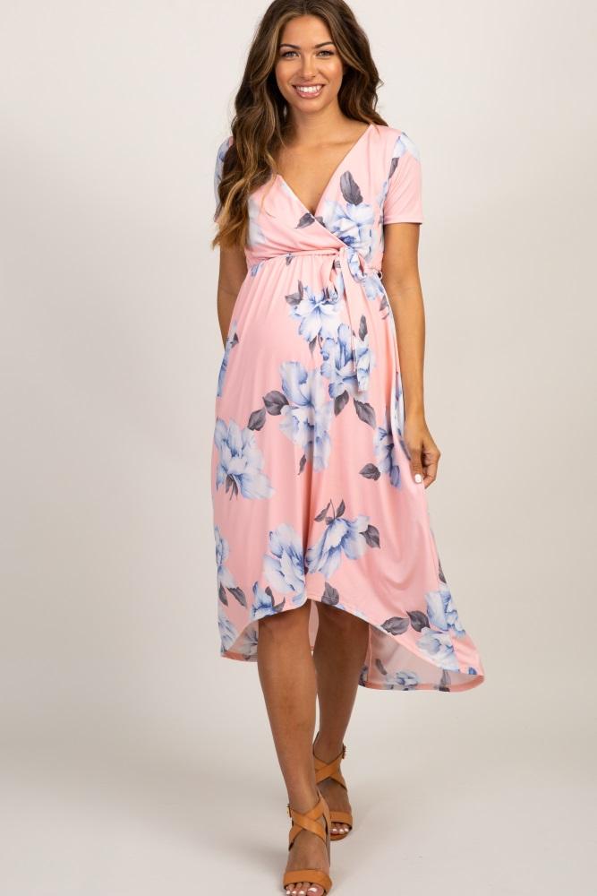 030e4c68bb963 Pink Floral Hi Low Maternity Wrap Dress