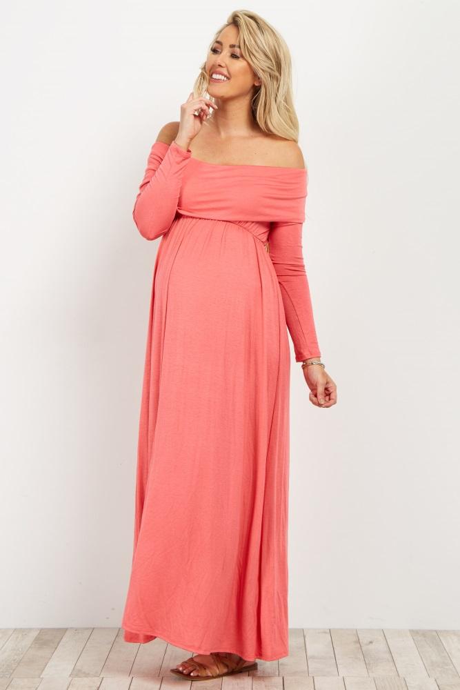 e2d2bc2121c Pink Off Shoulder Long Sleeve Maternity Maxi Dress