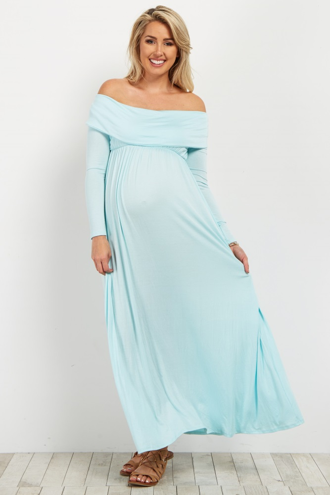 f4acdb1f89 Light Blue Off Shoulder Long Sleeve Maternity Maxi Dress