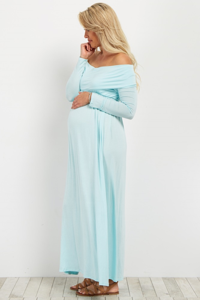 169182c73d603 Light Blue Off Shoulder Long Sleeve Maternity Maxi Dress