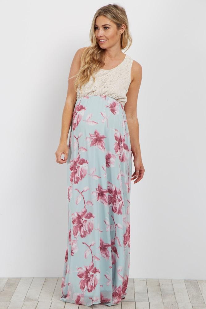 Light Blue Crochet Floral Bottom Maternity Maxi Dress
