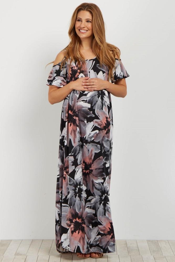 db76a537791 Black Floral Cold Shoulder Maternity Maxi Dress