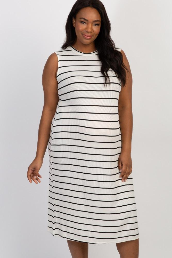 f03d58fa4185f White Striped Ribbed Plus Maternity Midi Dress