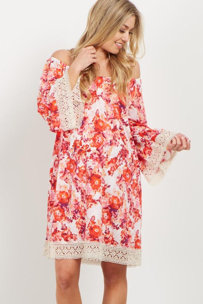 524d8ac044f Red Floral Crochet Trim Off Shoulder Maternity Dress