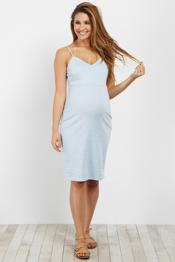c45f54a575fe7 Light Blue Sweetheart Fitted Maternity Cami Dress