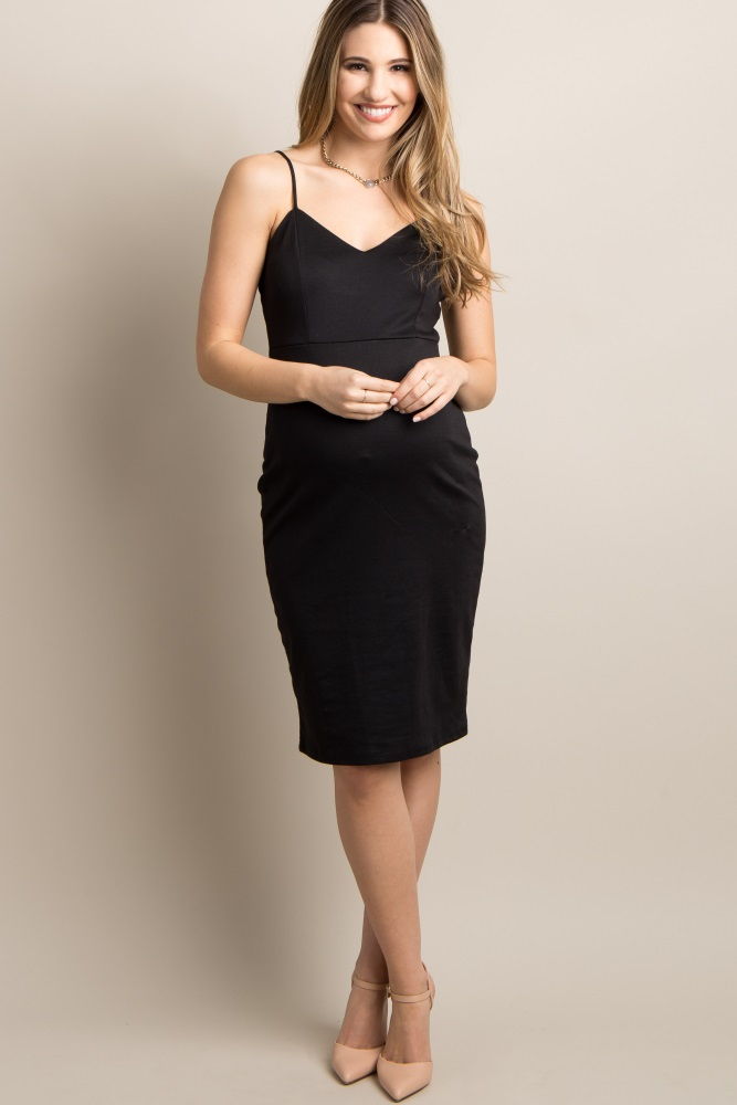 985fa414c84e6 Black Sweetheart Fitted Maternity Cami Dress
