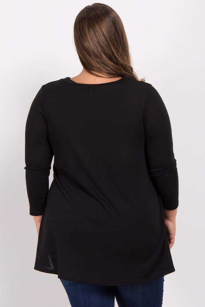 248aa8dc71c7d Black Cutout Front Long Sleeve Plus Maternity Top
