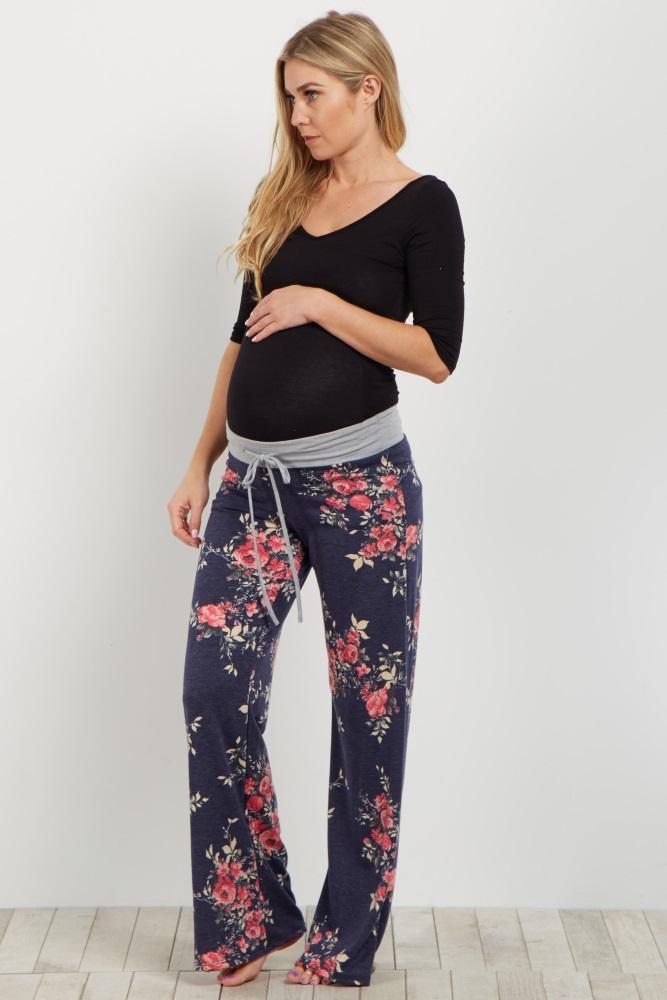 23b8ef203a93e Navy Floral Maternity Pajama Pants