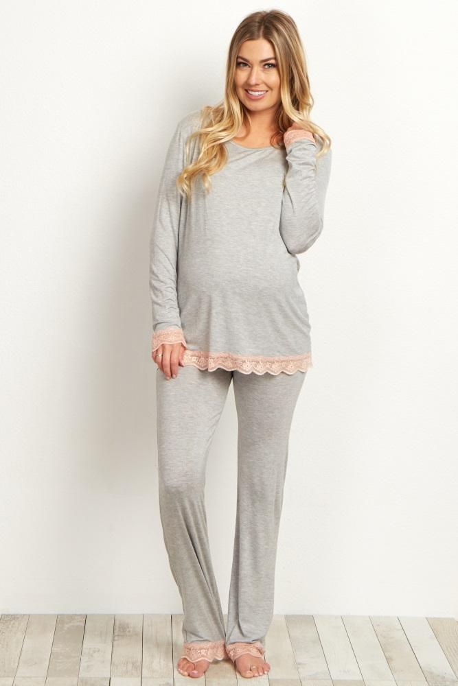 19d2cdfebf900 Pink Lace Trim Maternity Pajama Set