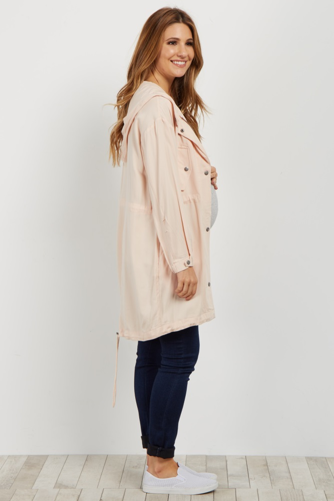 51bcfe30ba0b3 Light Pink Hooded Maternity Utility Jacket