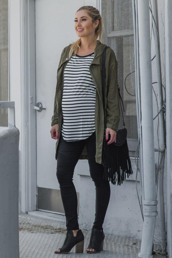 6cc02240dbeae Olive Hooded Maternity Utility Jacket