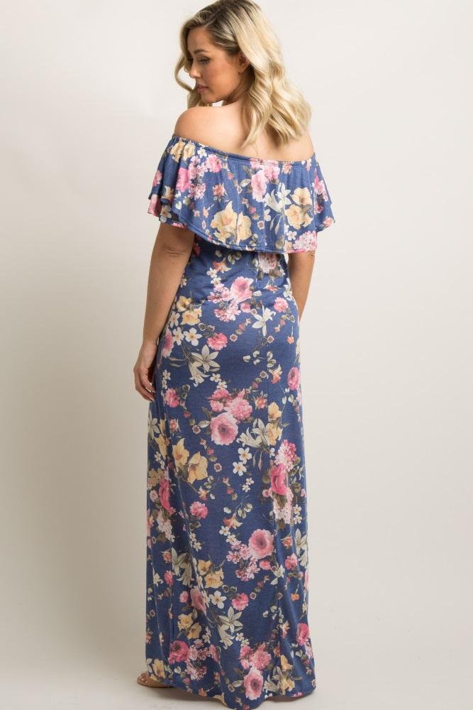 61f7483d1964f Blue Floral Off Shoulder Maternity Maxi Dress