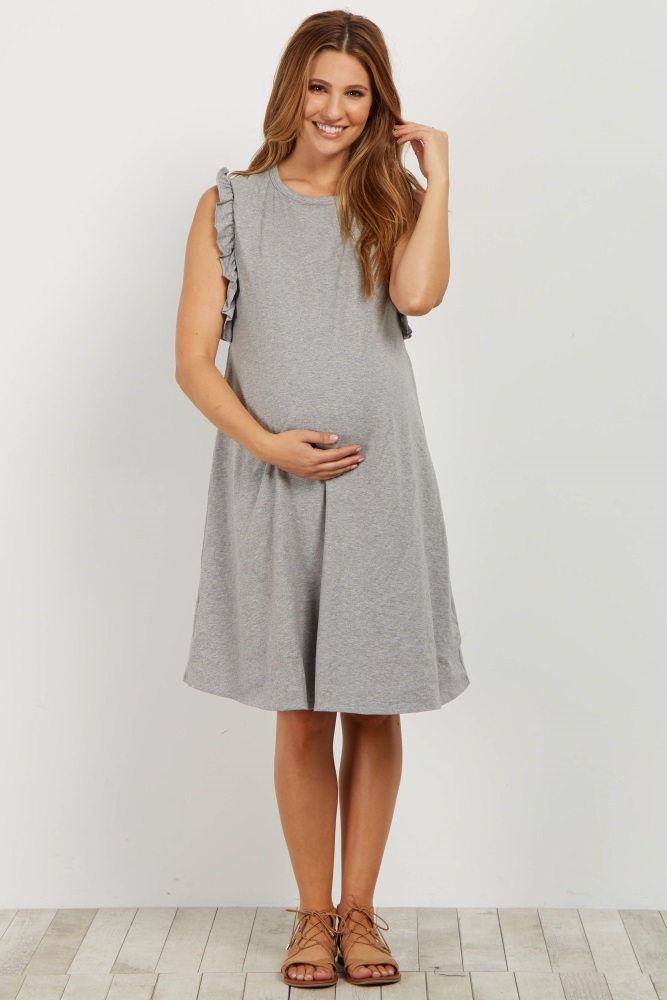 0851bc5e0f2 Grey Ruffle Trim Maternity T Shirt Dress
